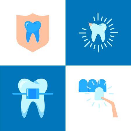 Aesthetic dentistry icon set in flat style Ilustracja