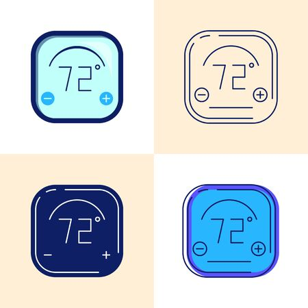 Smart thermostat icon set in flat and line style. Digital temperature regulation symbol. Vector illustration.