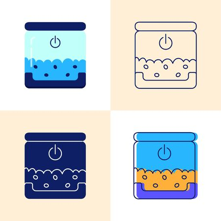 Smart pet feeder icon set in flat and line style. Vector illustration.