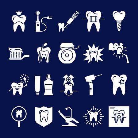 Stomatology silhouette icon set in flat style. Teeth care and dental treatment symbols on dark background. Vector illustration.