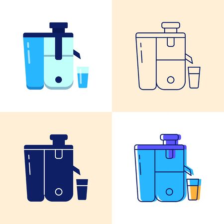 Juicer icon set in flat and line styles