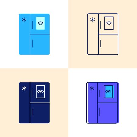 Smart refrigerator icon set in flat and line styles
