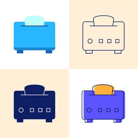 Toaster with bread icon set in flat and line styles. Kitchen appliance symbol. Vector illustration. Vector Illustratie