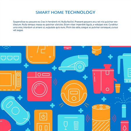 Smart home poster template in flat style with place for text 向量圖像