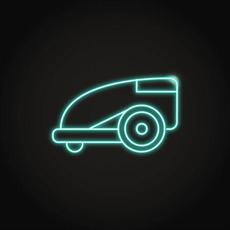 Neon smart lawn mower icon in line style. Robotic lawnmower symbol. Vector illustration.