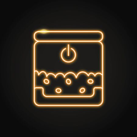 Neon smart pet feeder icon in line style. Automatic pet meal symbol. Vector illustration. Иллюстрация