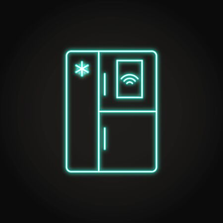 Neon smart refrigerator icon in line styles