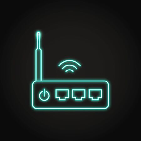 Neon wifi router icon in line style
