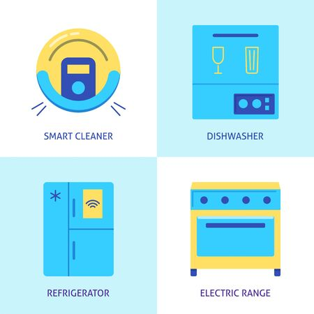 Housework automation icon set in flat style