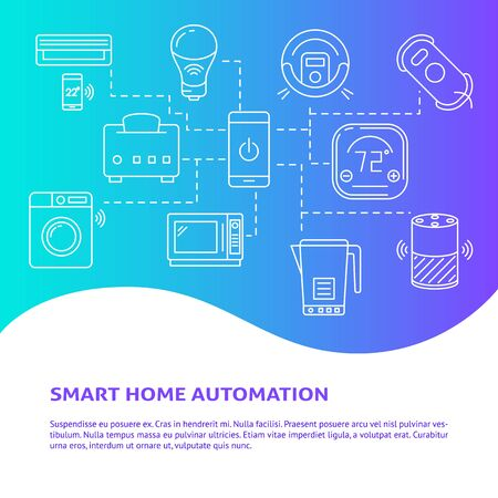 Smart home automation concept poster with place for text