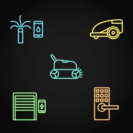 Neon house and garden automation icon set