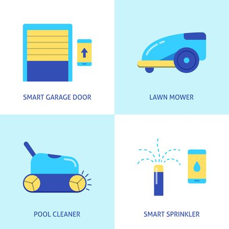 House and garden automation icon set in flat style