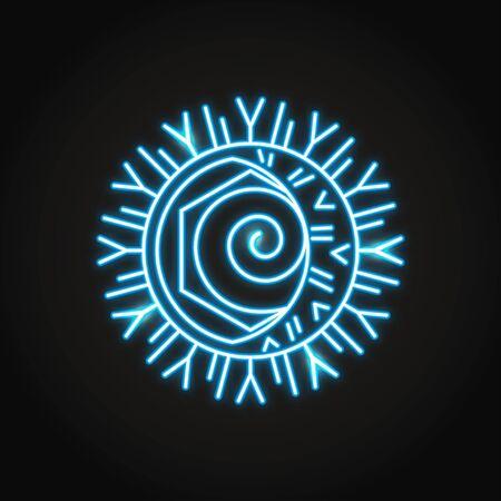 Neon herpes simplex icon in line style Vettoriali
