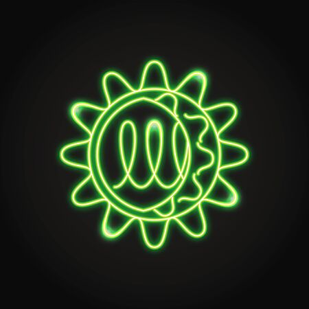 Neon norovirus cell icon in line style Illustration