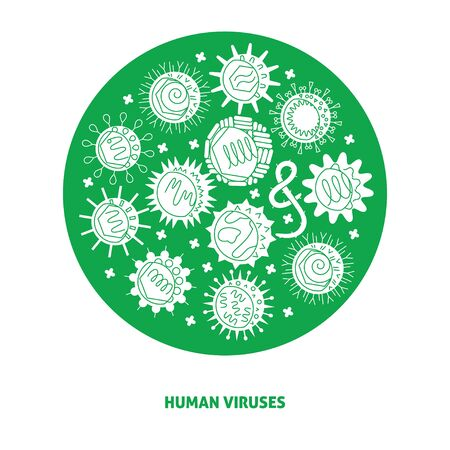 Human viruses poster with symbols in round frame 일러스트