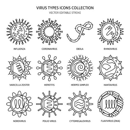 Human viruses icon set in thin line style