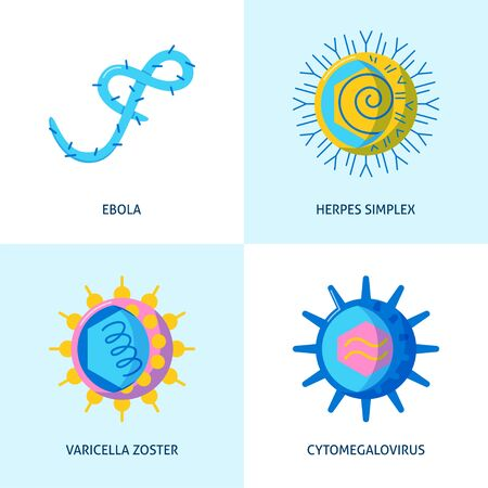 Human virus icons collection in flat style Vecteurs