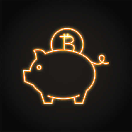 Bitcoin saving concept icon in neon line style. Cryptocurrency investment symbol. Piggy bank emblem. Vector illustration.