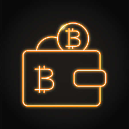 Wallet with bitcoin icon in neon style. Cryptocurrency saving or payment symbol. Vector illustration.