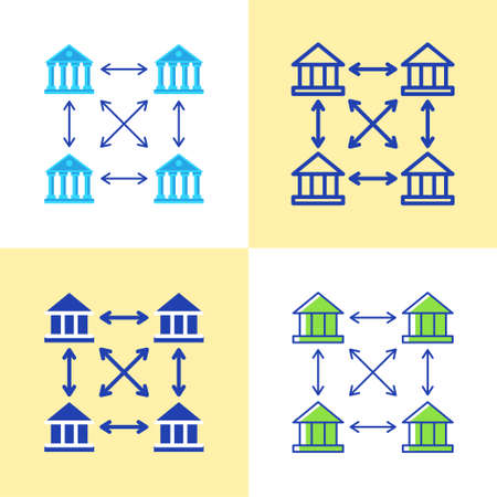 Distributed ledger icon set in flat and line style