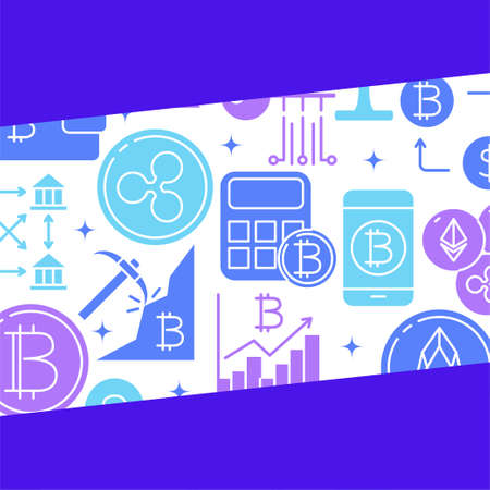 Digital money concept poster in flat style  イラスト・ベクター素材