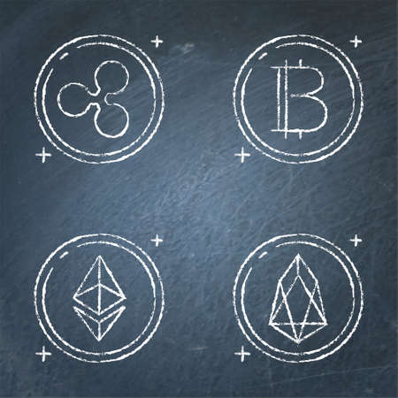 Chalkboard cryptocurrency icon set in line style  イラスト・ベクター素材