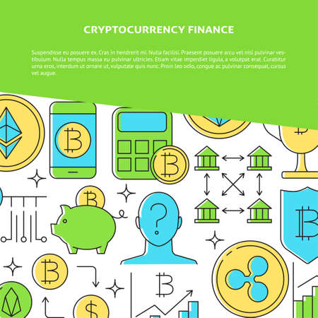 Cryptocurrency concept banner with place for text
