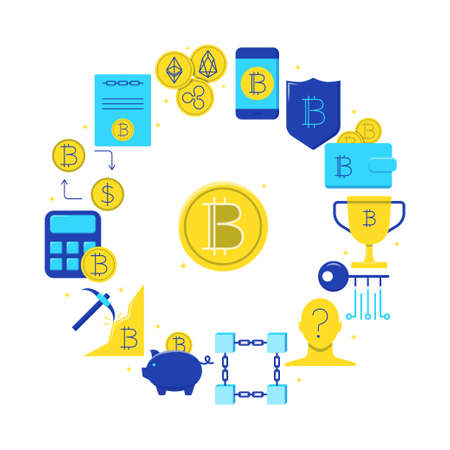 Bitcoin digital money round poster in flat style  イラスト・ベクター素材