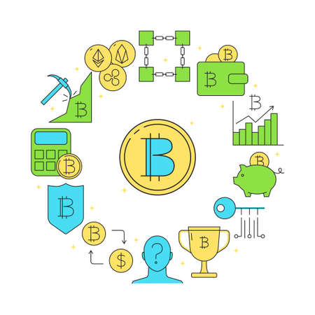 Bitcoin round banner in colored line style  イラスト・ベクター素材