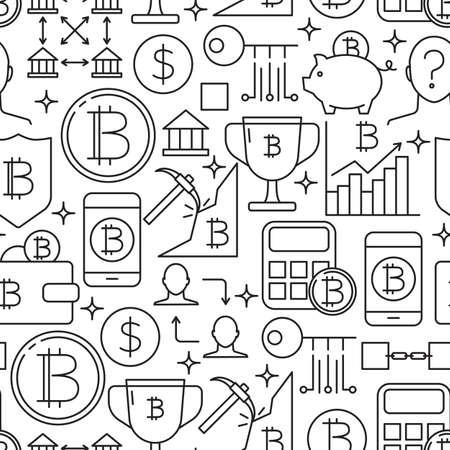 Digital money seamless pattern in line style