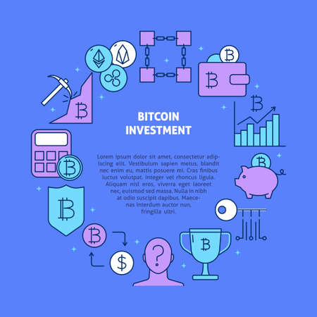 Bitcoin investment round banner with place for text Ilustração Vetorial