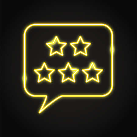 Customer review icon in neon line style