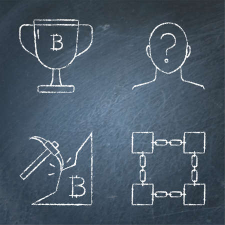 Chalkboard bitcoin icon set in line style