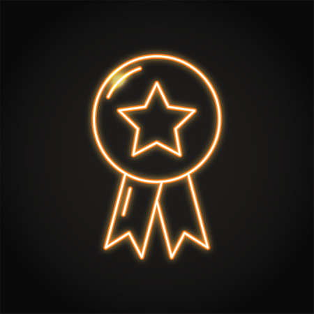 Best quality mark icon in neon line style 일러스트