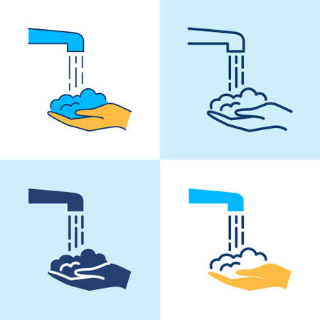 Washing hands icon set in line style