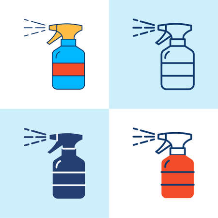 Hand sanitizer spray icon set in line style