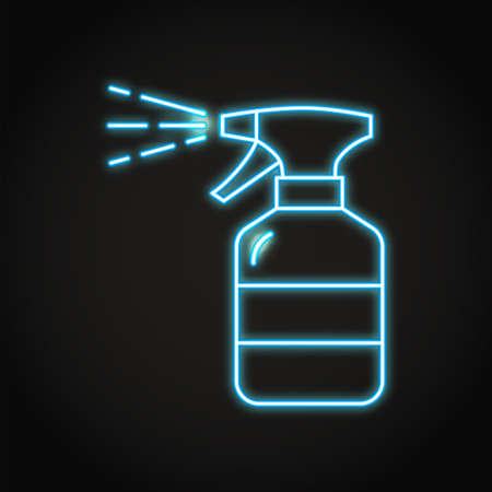 Neon hand sanitizer spray icon in line style 일러스트