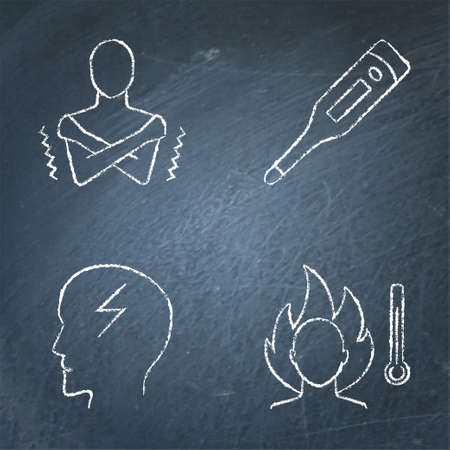 Chalkboard high temperature icon set in line style 矢量图像