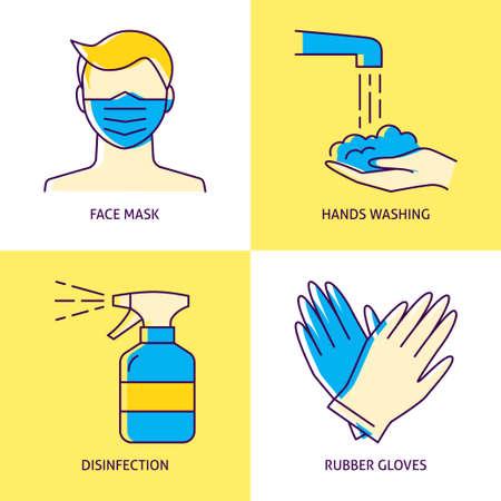 Coronavirus prevention icon set in line style