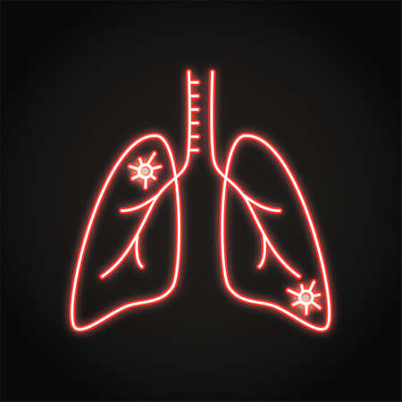 Neon lung pneumonia icon in line style