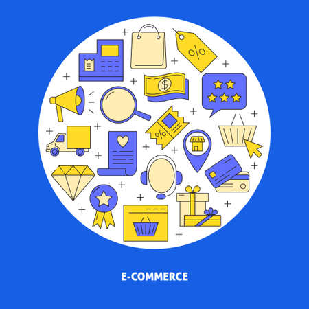 E-commerce round concept poster in line style with text
