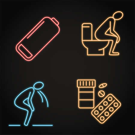 Neon stomach problems icon set in line style