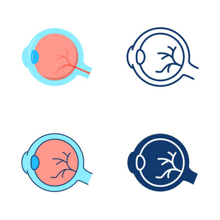 Eyeball icon set in flat and line style