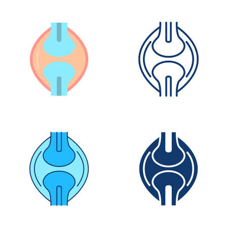 Bones joint icon set in flat and line style