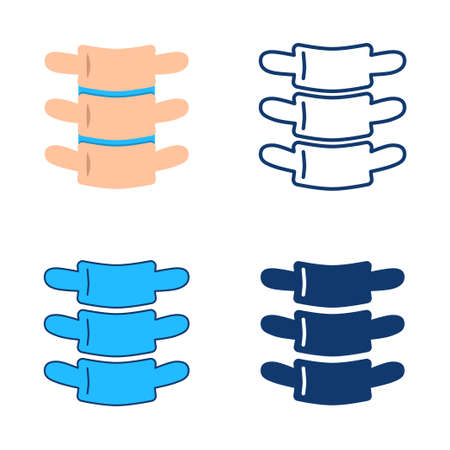 Vertebra icon set in flat and line style