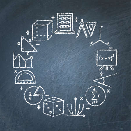 Math chalkboard round banner with place for text Vektorové ilustrace
