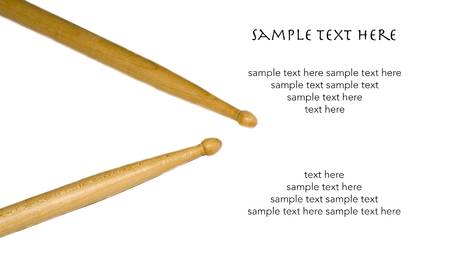 drum sticks: Isolated Drum Sticks with Text on White Background