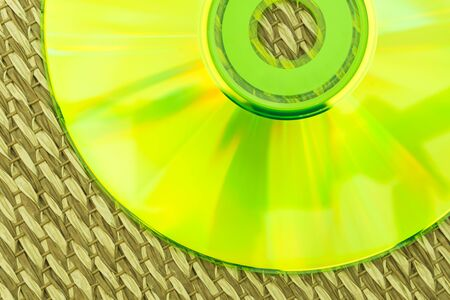 bluray: Half Green CD Placed on a Japanese Mat Stock Photo