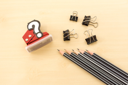 hole punch: Office Tools Contain Pencil, Paperclip and Hole Punch