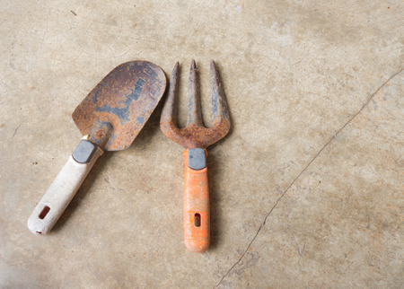 replant: Planting Equipment with Old Rusty Fork and Spoon